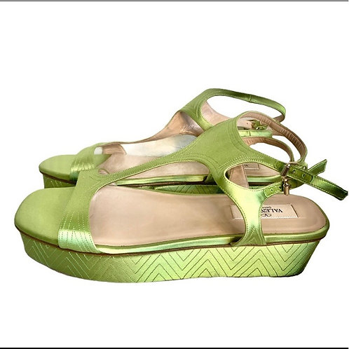 Valentino Garavani new with tags green silky platform sandal wedge size 7