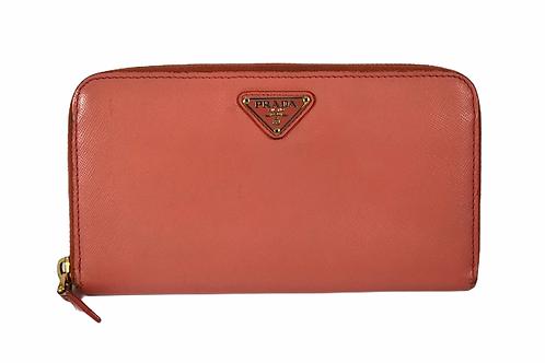 Prada Pink zip around saffiano wallet