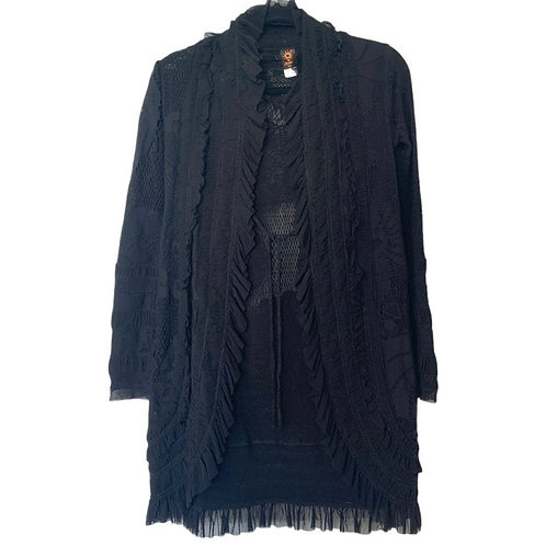 Jean Paul Gaultier black vintage soleil tie wrap mesh jacket size XS