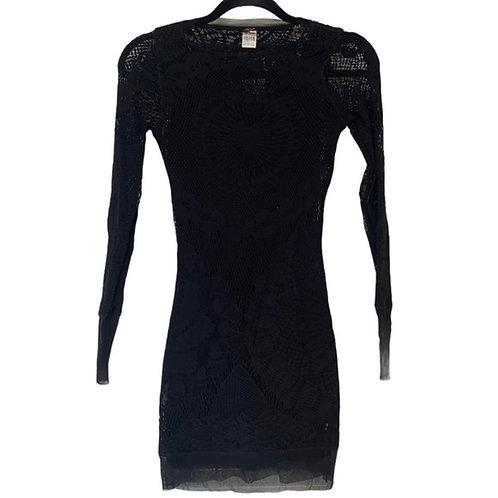 Jean Paul gaultier vintage black mesh soleil bodycon dress size small