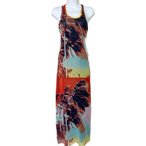 Jean Paul Gaultier Tropical Print Mesh Vintage Maxi Dress Size Small