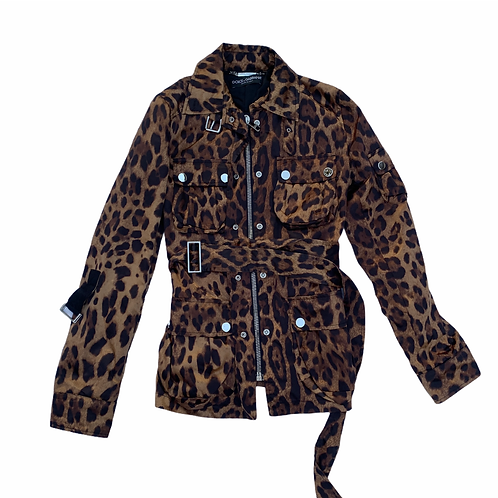 Dolce & Gabbana Leopard Jacket With Pockets and Wrap Around Belt size S