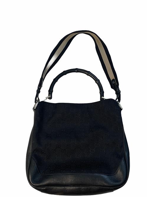 Vintage Gucci GG black canvas , leather trim & bamboo handle vintage purse