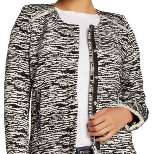 IRO tweed beautiful black and white LIZZIE jacket size medium