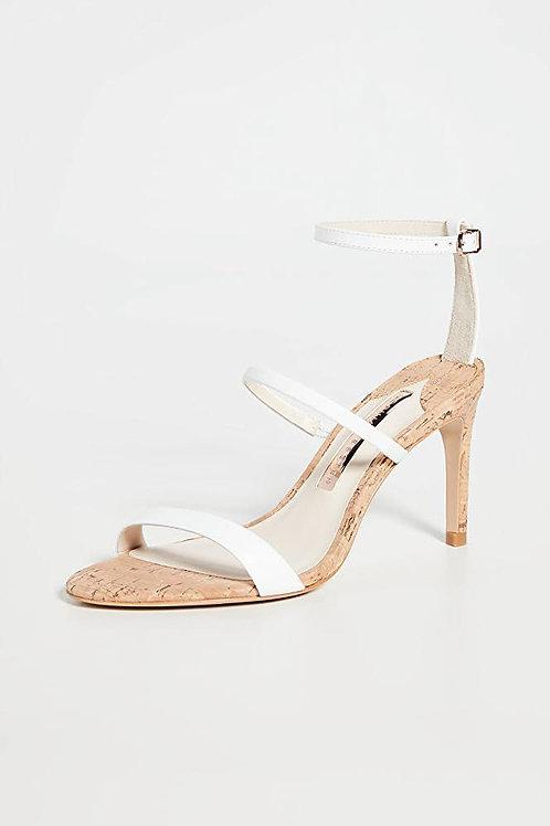 Sophia Webster White Rosalind Cork & Leather Sandals Heels size 9.5