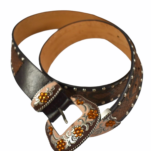 Western cowgirl jeweled crystal brown and snakeskin faux leather belt