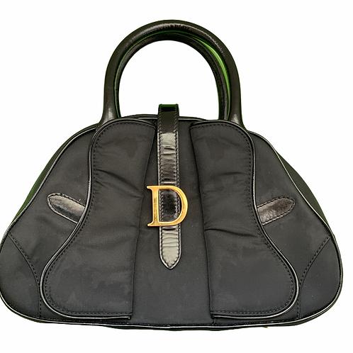 Dior Vintage Saddle Bowler Nylon Cloth Black Handbag