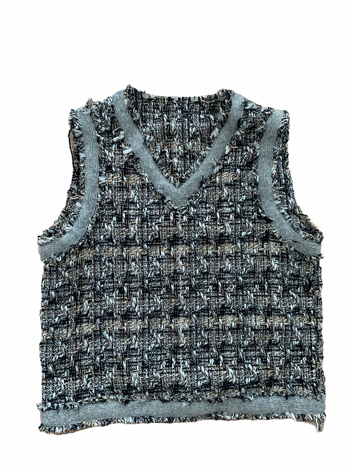 Tweed lined blue and gray sweater vest