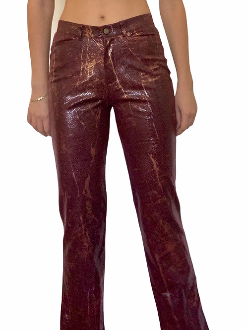 Vintage snake print high waisted maroon and gold pants size 0