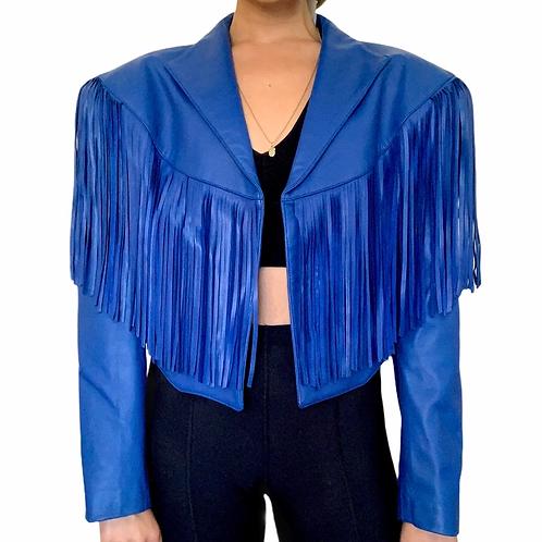 Vintage royal blue genuine leather fringe western jacket