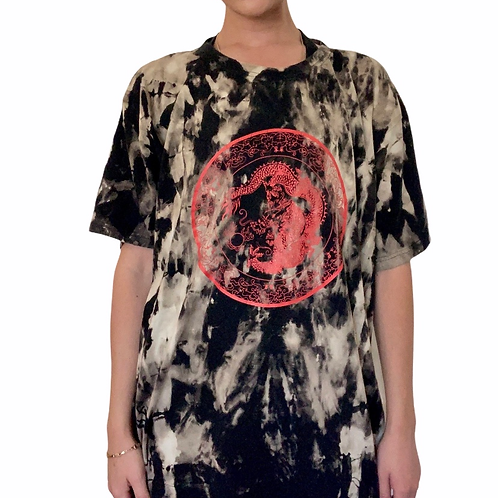 Custom bleach dyed oversized asian inspired graphic t shirt