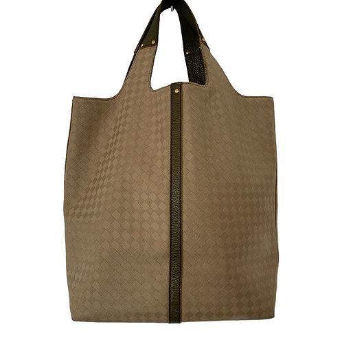 BOTTEGA VENETA tan canvas with green leather handle large tote bag