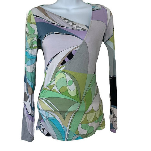 Emilio Pucci Retro Long Sleeve Patterned Top Size Small