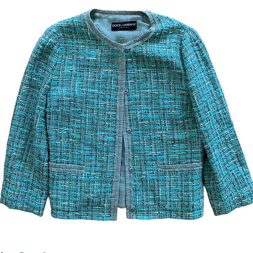 Dolce & Gabbana blue tweed jacket size 2 (XS)