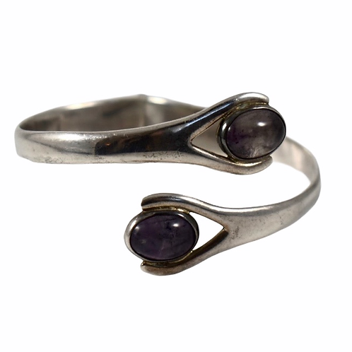 Sterling silver and amethyst cuff