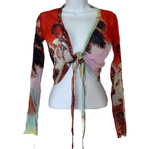 Jean Paul Gaultier Vintage Palm Tree Tropical Tie Mesh Crop Top
