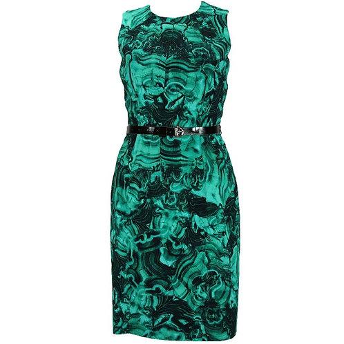 MICHAEL KORS Emerald Green Duquette's Iconic Malachite Print Cocktail Dress