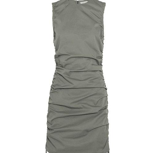 Barbara Casasola olive ruched shift dress size 2