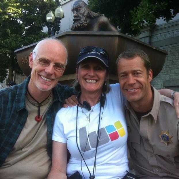 Alexandra with Colin Ferguson and Matt Frewer on the set of Eureka.
