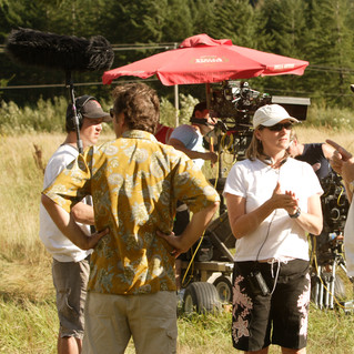 Alexandra giving direction on the set of Dead Zone.