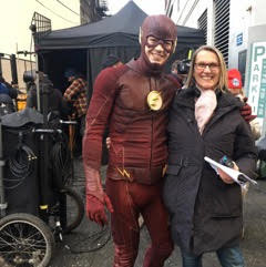 Alexandra and Grant Gustin in his Flash outfit.