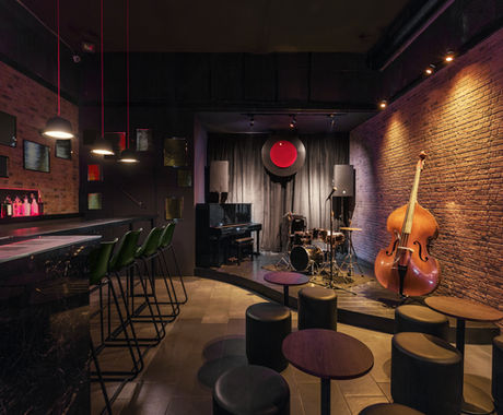 Modern jazz bar interior design, stage w