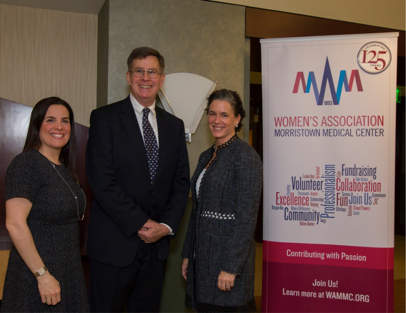 L to R: Brandee Fetherman, Director of Nursing, Morristown Medical Center, Barry Thomson, Megan Schubiger, Chair, WAMMC 125th Anniversary Committee.