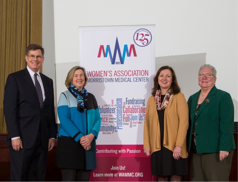 L to R: Barry Thomson, Mary Courtemanche, Trish O'Keefe, PhD, RN, President, Morristown Medical Center, Carol Jones, Chief Nursing Officer, Morristown Medical Center.