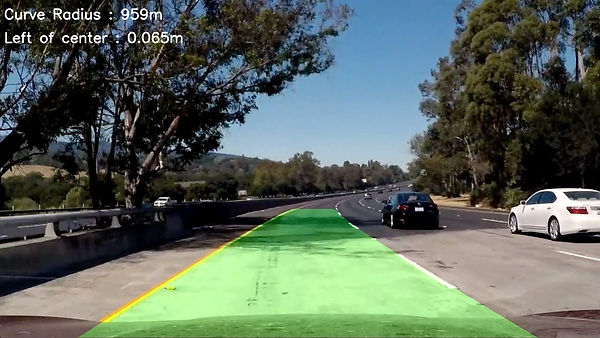 Lane overlay onto the road of a self-driving car
