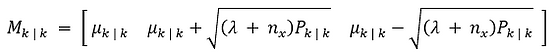 Sigma point generator function for an uncented kalman filter