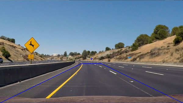 A Region of interest of the road where the lane markings are expected to be located.