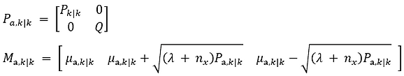 Augmented matrix and sigma points for a UKF