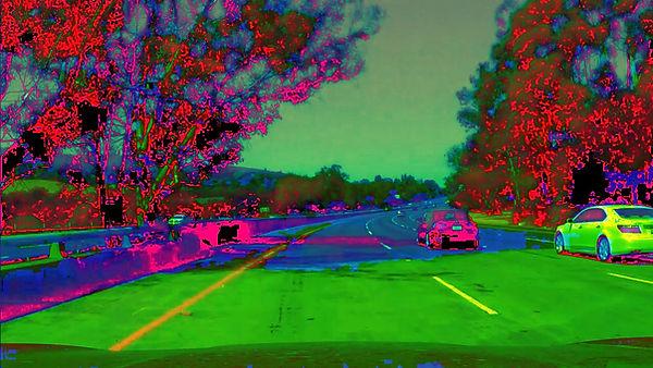Hue Lightness Saturation (HLS) conversion of a highway image using OpenCV.