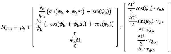 Process model with variance of CRVT model for Unscented kalman filter UKF