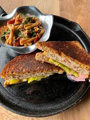 Griddled Turkey/Bacon Patty Melt on Sprouted Grain Chic Pea Pasta Salad