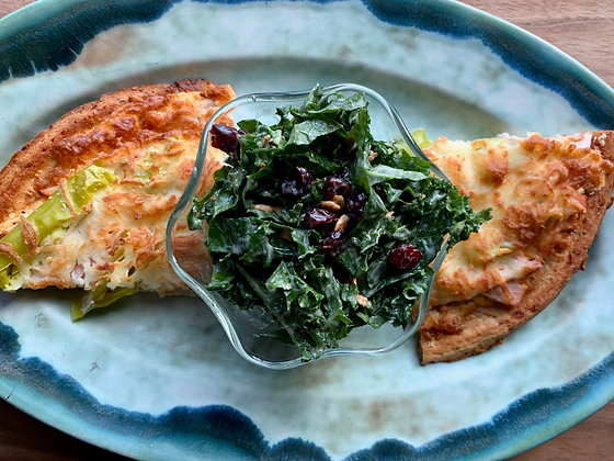 "Cajun Turkey ""White"" Cauliflower Pizza Shaved Kale Salad"