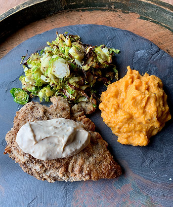 Creamy Cajun Chicken Brussels Sprouts Mashed Sweet Potatoes