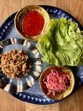 Thai Ground Turkey with Veggies, Sweet Chili Sauce, Crunchy Asian Slaw & Iceburg