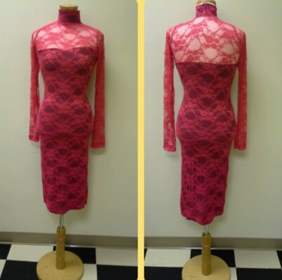 Red Underlay Lace Dress