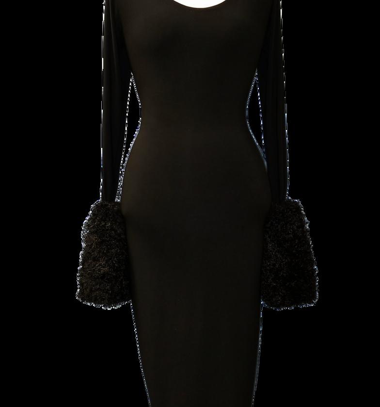 black Fur Cuffs dress