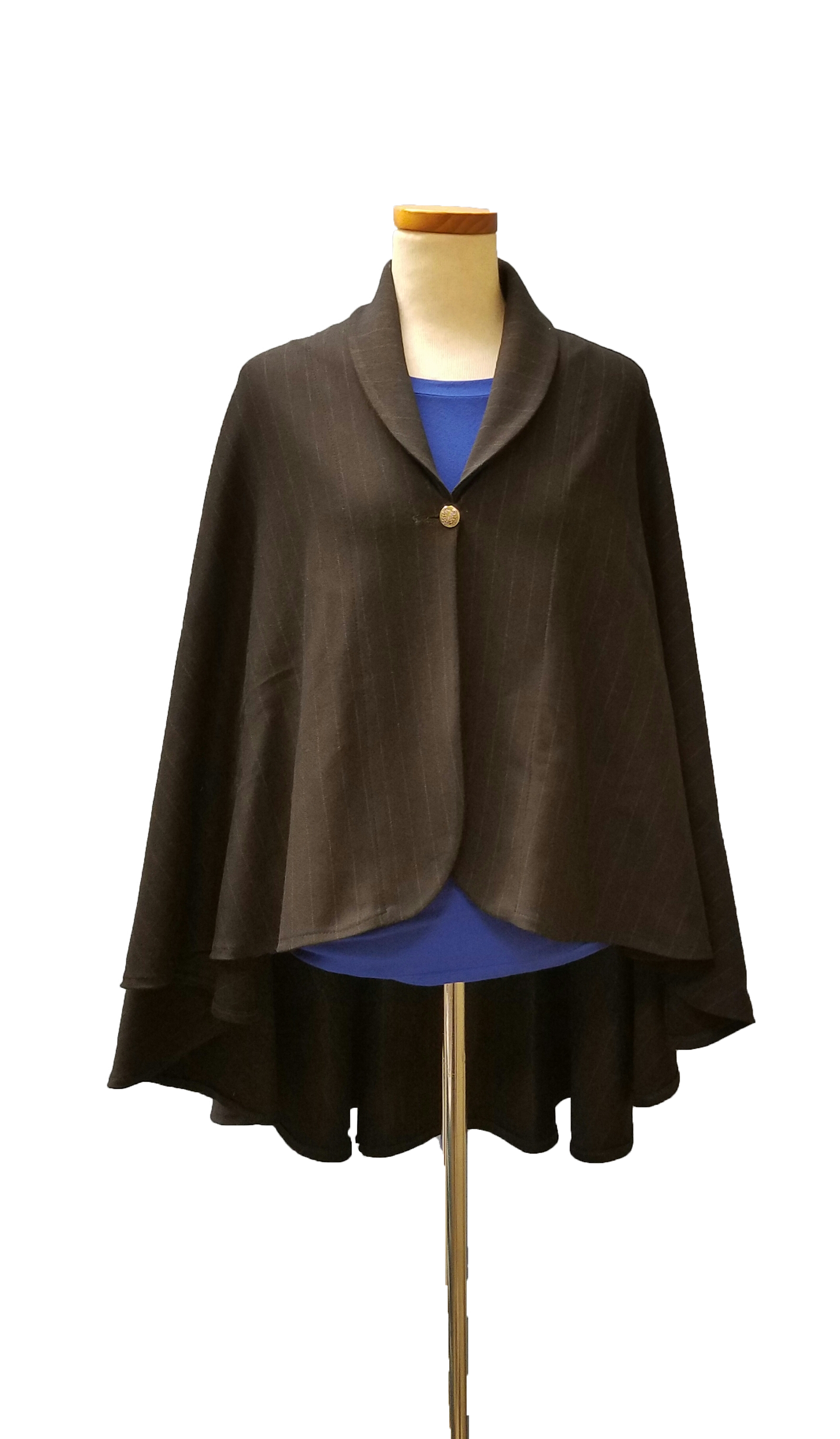 Black stripe grey cape Front copy