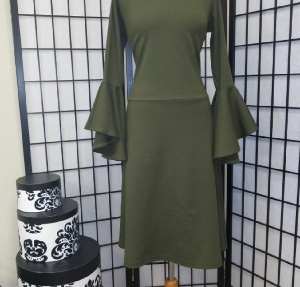 Aline Flounced Sleeve Dress
