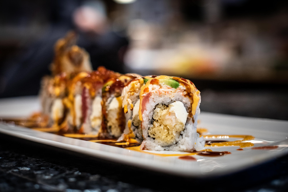 Angel roll photographed for Samuri Sushi in Gulfport, Mississippi.