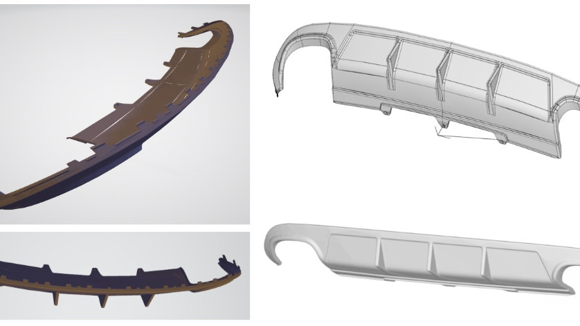 Production CAD data - Audi B8 A4/S4 custom rear diffuser