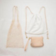 魚網袋 索繩袋 真皮 皮革斜揹袋 Leather bag simple white
