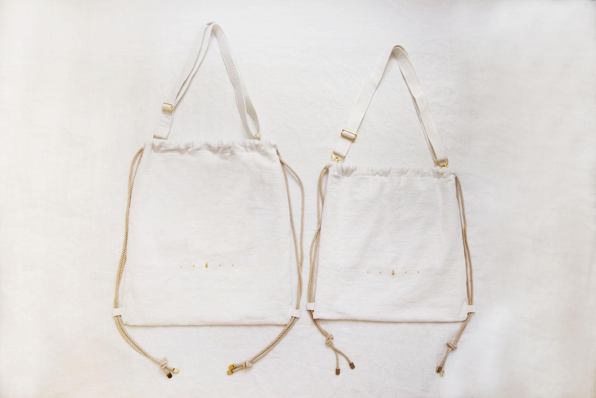 島中坊研:優質全麻布 - 金車花 兩用索繩袋