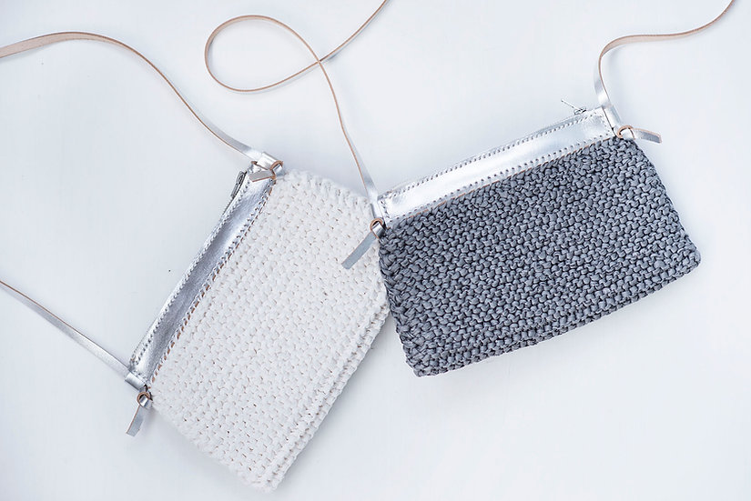 knit bag 織袋 長洲 島中坊研 island workbench cheung chau 銀 色 silver 皮 皮革 lather lady girl gift 女士 女朋友 禮物 size B
