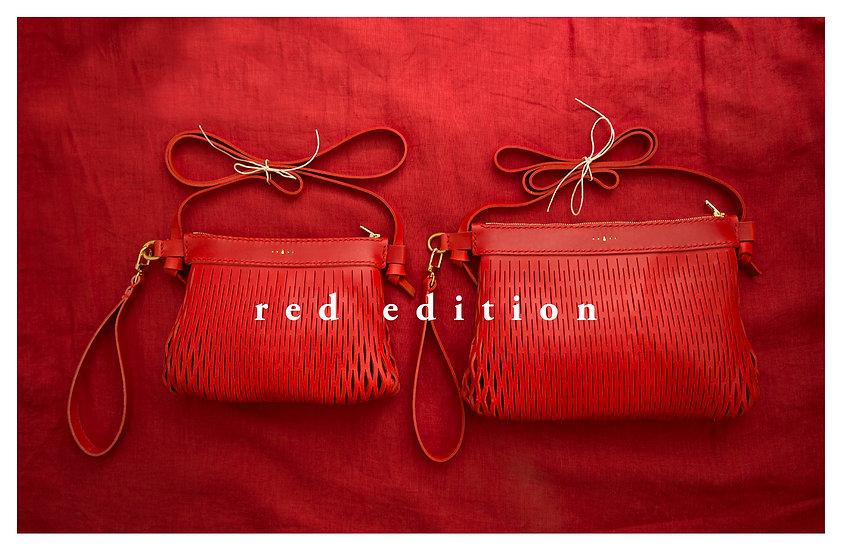 貝殼牛皮手縫袋 大版(意大利紅色牛皮)