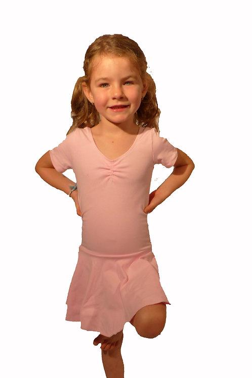 Robe léotard rose à manches courtes pour enfant