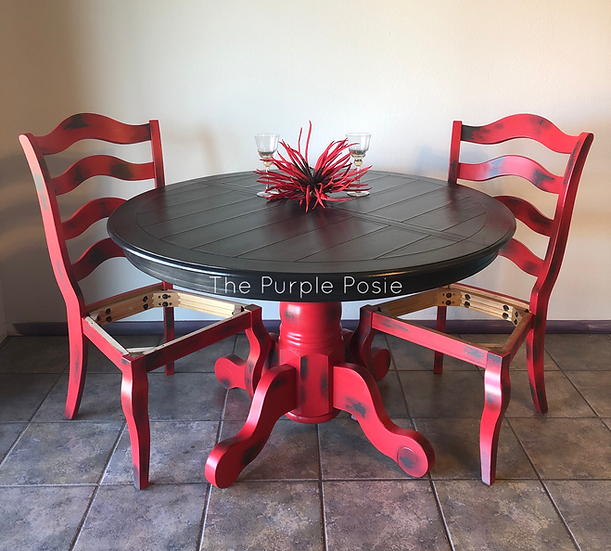 Elegant Red and Black Custom Table and Chair Set